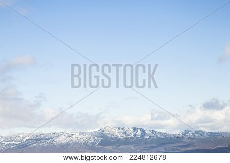 MOUNTAIN LANDSCAPE WITH SNOW, A SUNNY DAY SENSATION OF FREEDOM