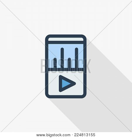 MP3, music player thin line flat color icon. Linear vector illustration. Pictogram isolated on white background. Colorful long shadow design.