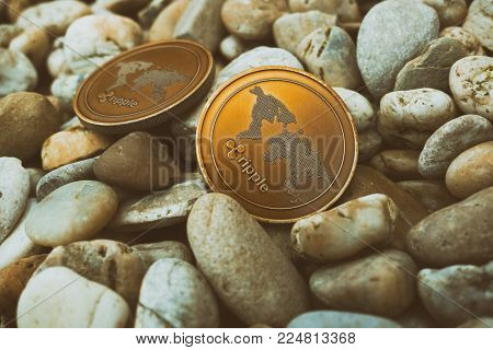 Close up of golden brown ripple coins in nature laying on the small stones. Shining cryptocurrency ripple (XRP) on the daylight. New modern cryptocurrency