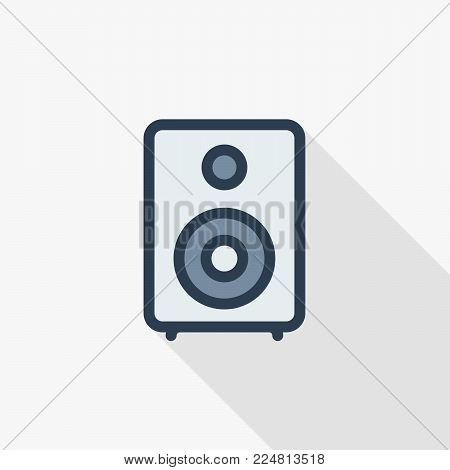 subwoofer speaker thin line flat color icon. Linear vector illustration. Pictogram isolated on white background. Colorful long shadow design.