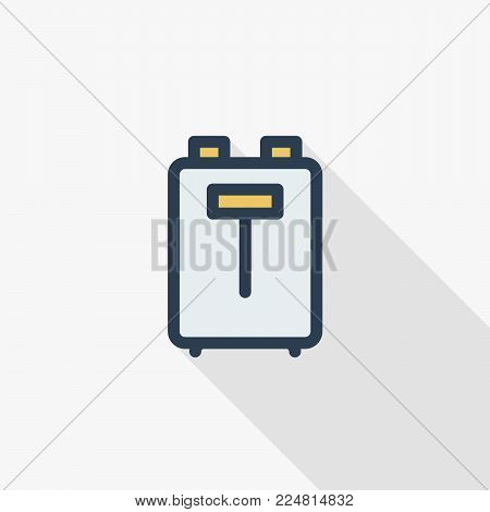 Toaster thin line flat color icon. Linear vector illustration. Pictogram isolated on white background. Colorful long shadow design.