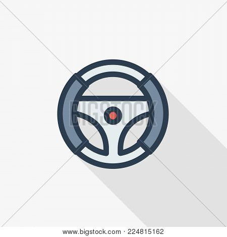 Steering wheel thin line flat color icon. Linear vector illustration. Pictogram isolated on white background. Colorful long shadow design.