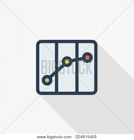 paper city map, route, navigation thin line flat color icon. Linear vector illustration. Pictogram isolated on white background. Colorful long shadow design.