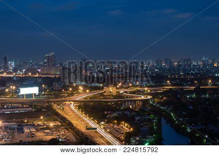 Bangkok City  Expressway night view cityscape ligh skyline downtown traffic