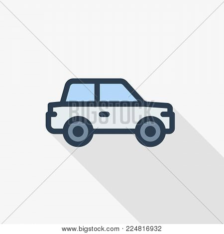 car, hatchback thin line flat color icon. Linear vector illustration. Pictogram isolated on white background. Colorful long shadow design.