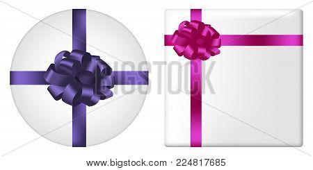 Gift box set with bow and ribbon. Square and round giftbox top view with realistic holiday decorations on package. Vector illustration.