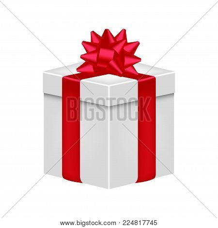 Gift box with ribbon and bow in red color. Realistic giftbox. Vector illustration.