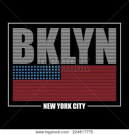 Brooklyn, New York typography graphics for t-shirt. Print athletic clothes with USA flag and lettering - BKLYN. Line design for sport original apparel. Vector illustration.