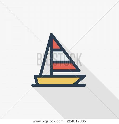 sailing ship thin line flat color icon. Linear vector illustration. Pictogram isolated on white background. Colorful long shadow design.