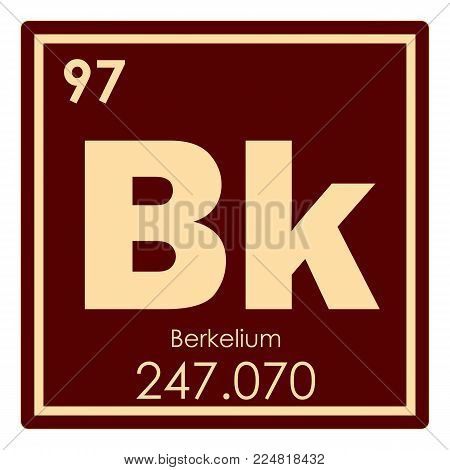 Berkelium Chemical Element Periodic Table Science Symbol
