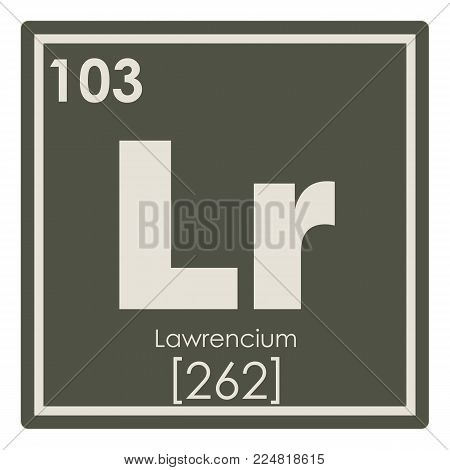 Lawrencium chemical element periodic table science symbol