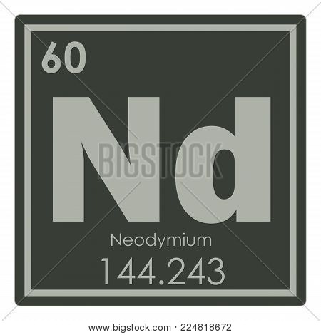 Neodymium chemical element periodic table science symbol
