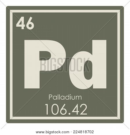 Palladium chemical element periodic table science symbol