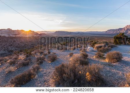 Sunrise behind Calico Rocks at Red Rock Canyon National Conservation Area near Las Vegas, Nevada.