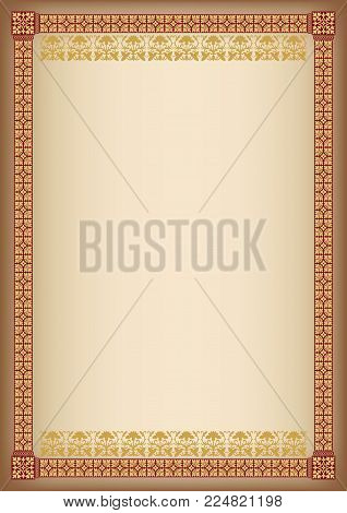 Ornate rectangular framework. A4 proportions. Book cover decoration, icon case, template for certificate, diploma.