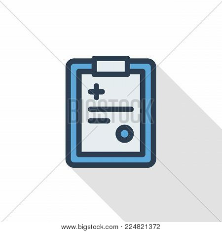 medical history, diagnose result, recipe thin line flat color icon. Linear vector illustration. Pictogram isolated on white background. Colorful long shadow design.
