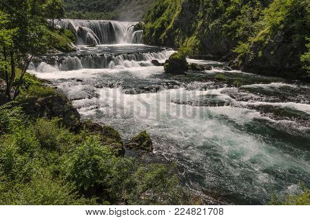 The Bigest Beautiful Waterfall On Una River In National Park In Summer