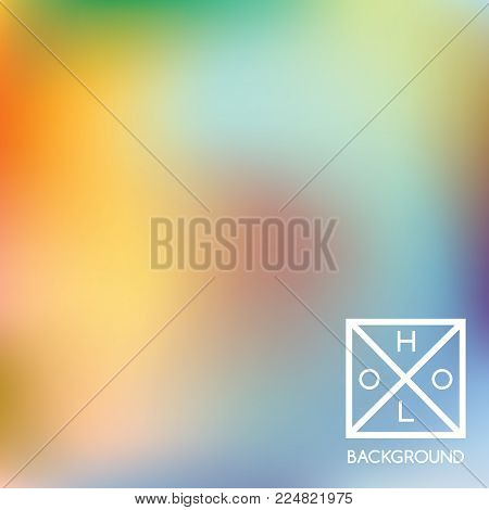 Holographic background. Holo iridescent cover. Abstract soft pastel colors backdrop. Trendy creative vector cosmic gradient.  Mesh holographic foil.  Creative neon template for banner. Vibrant print.