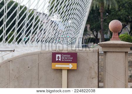 Murcia,spain-september 23,2017:modern Bridge Detail And Sign Route Pilgrim Way,camino De La Cruz De