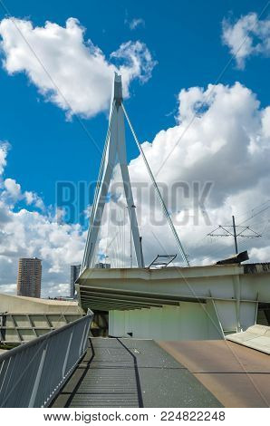 APRIL 2015, ROTTERDAM NETHERLANDS: Close view of Erasmus Bridge, The Swan, on a beautiful sunny day