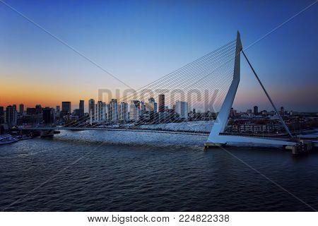 APRIL 2015, ROTTERDAM NETHERLANDS: Close view of Erasmus Bridge, The Swan, during a sunset