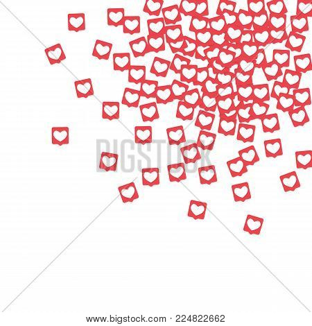 Social Media Icons. Network Notifications with White Heart in Pink Square. Follow and Share Social Media Icons Background for App, Application, Marketing, Smm, Ceo, Web, Internet, Analytics, Business.