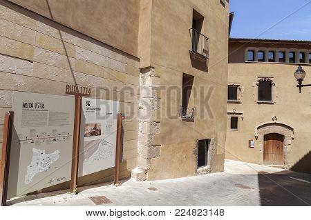 SANT BOI DE LLOBREGAT,SPAIN-MAY 21,2017:Medieval house Can Barraquer in Sant Boi de Llobregat,Catalonia,Spain.