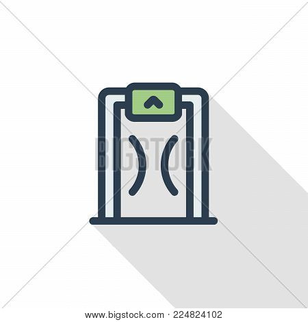 security metal detector, safety technology thin line flat icon. Linear vector illustration. Pictogram isolated on white background. Colorful long shadow design.