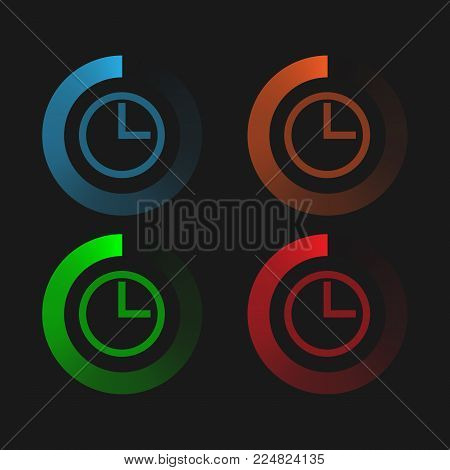 Circular neon loading. Color pie chart. Vector loading, upload, download bar.