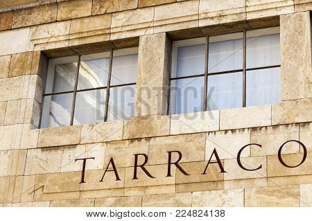 TARRAGONA,SPAIN-MARCH 9,2017:Detail facade building archeological museum with ancient city roman name Tarraco,Tarragona,Spain.