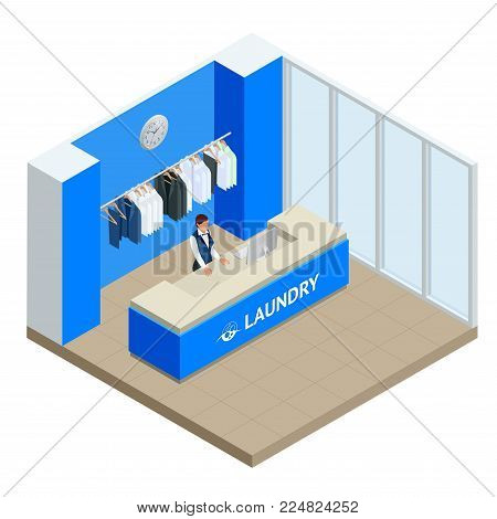 Isometric Laundry reception concept. Laundry service with dry cleaning and washing. Flat vector illustration