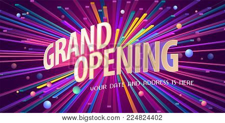 Grand opening vector background. Ribbon cutting ceremony design element as poster or advertising for opening event