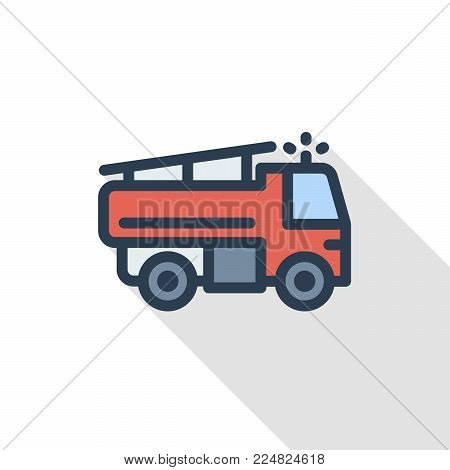 Fire engine thin line flat color icon. Linear vector illustration. Pictogram isolated on white background. Colorful long shadow design.