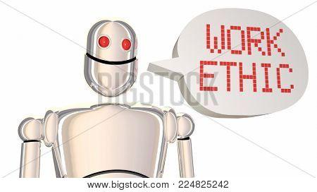 Work Ethic Robot Speech Bubble Cloud Words 3d Illustration