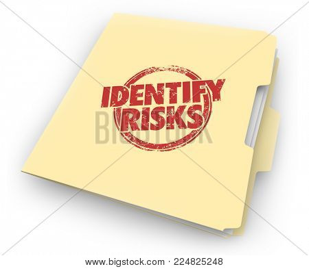Identify Risks Reduce Liability Manila Folder Documents 3d Illustration