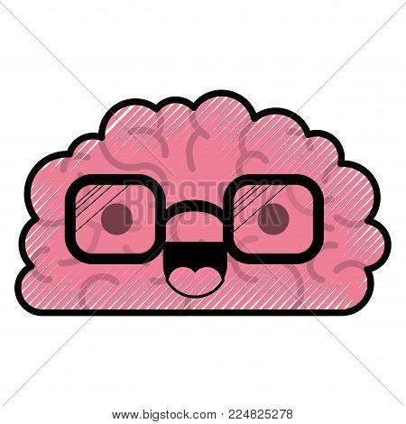 cartoon brain expression mind intelligence neurology fun caricature comic graphic vector illustration