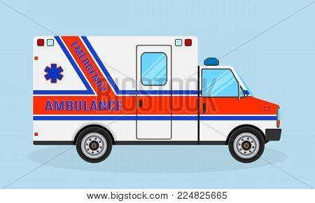 Ambulance car. Emergency medical service vehicle side view. Medicine clinic transportation. Flat style vector illustration.