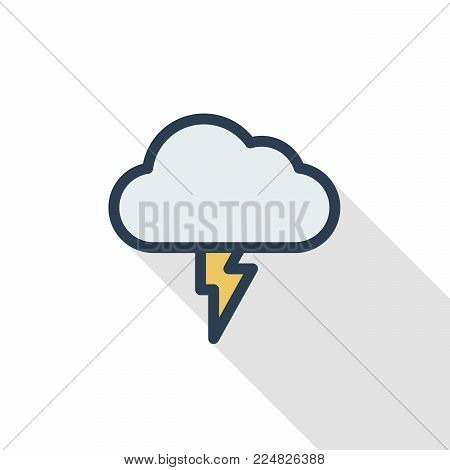 Lightning, thunderstorm cloud, weather thin line flat color icon. Linear vector illustration. Pictogram isolated on white background. Colorful long shadow design.
