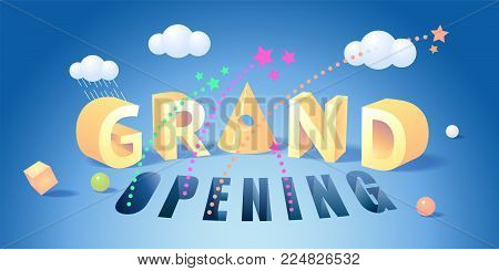 Grand opening vector illustration, background for new store with 3D sign and objects. Template banner, design element for opening event, ribbon cutting ceremony