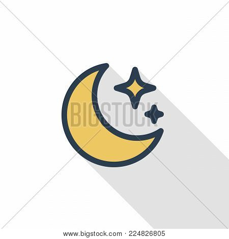 night, Moon and star thin line flat color icon. Linear vector illustration. Pictogram isolated on white background. Colorful long shadow design.