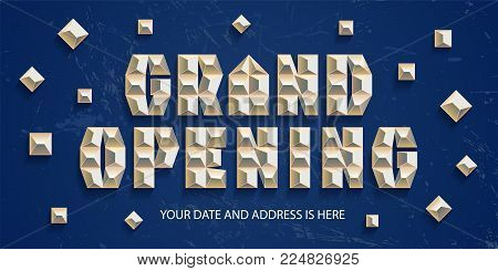 Grand opening vector banner, poster, illustration. Nonstandard design element with gold color letters for opening ceremony