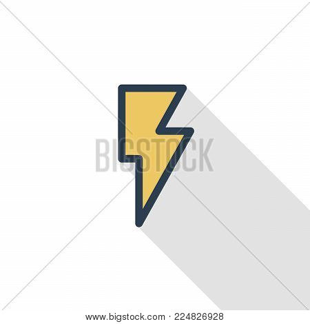 Lightning, electricity thin line flat color icon. Linear vector illustration. Pictogram isolated on white background. Colorful long shadow design.