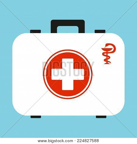 White first aid kit isolated on blue background. Health, help and medical diagnostics concept.