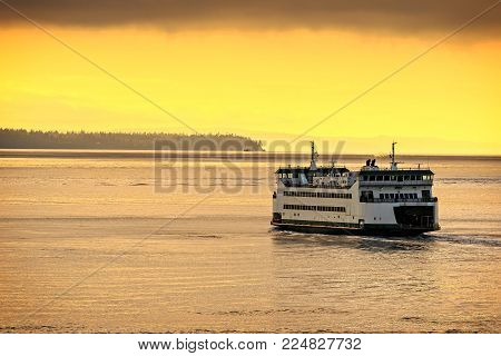 Ferry Boat Travels On The Puget Sound