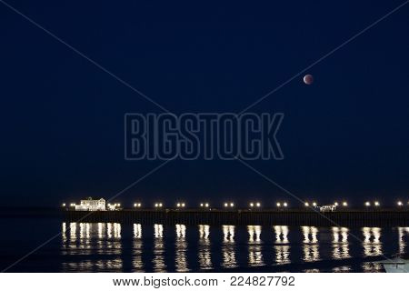 Blue Moon Blood Moon Eclipse Setting over Oceanside Pier January 31, 2018