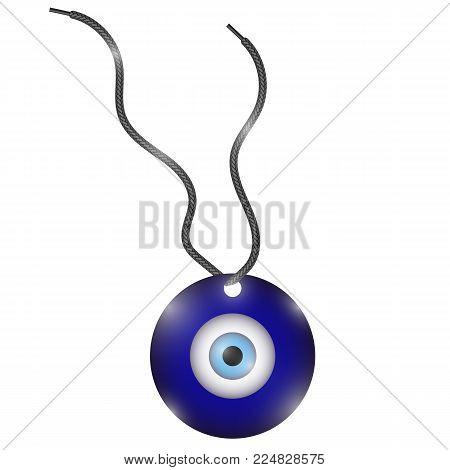 Glass Evil Eye Symbol Isolated on White Background. Turkish Traditional Amulet. Nazar Protection Talisman. Blue Magic Souvenir