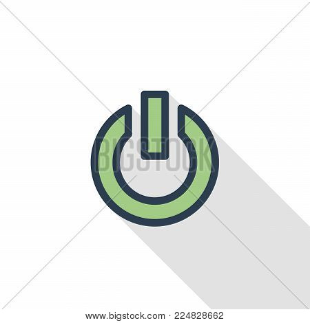 shut down thin line flat color icon. Linear vector illustration. Pictogram isolated on white background. Colorful long shadow design.
