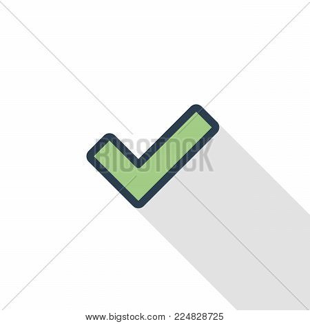 Tick, check mark thin line flat color icon. Linear vector illustration. Pictogram isolated on white background. Colorful long shadow design.