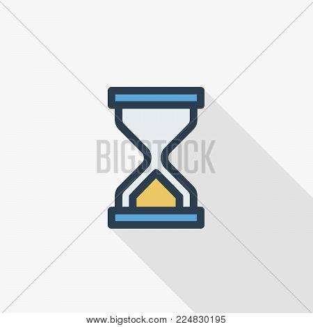 timer, sand hourglass, glass clock thin line flat icon. Linear vector illustration. Pictogram isolated on white background. Colorful long shadow design.