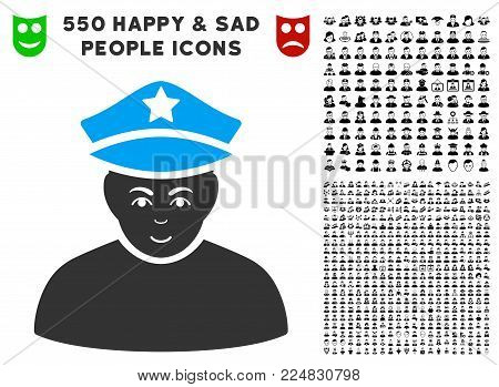 Happiness Army General vector icon with 550 bonus pity and glad men images. Human face has happiness emotions. Bonus style is flat black iconic symbols.